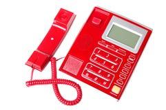 Telefone plástico da linha terrestre com os botões isolados na Imagem de Stock