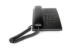 Telefone preto do escritório isolado Fotografia de Stock Royalty Free