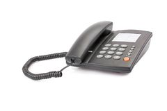 Telefone preto do escritório isolado no branco Foto de Stock Royalty Free