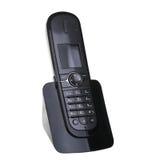 Telefone preto isolado no branco Foto de Stock Royalty Free