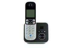 Telefone preto sem fio com berço Fotos de Stock Royalty Free