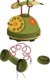 Telefone quebrado verde. Desenhos animados Imagem de Stock
