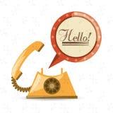 Telefone retro a chamar e falar ilustração do vetor