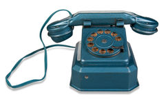 Telefone retro - telefone do vintage no fundo branco Fotos de Stock Royalty Free