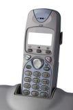 Telefone sem fio do close up com tela em branco imagens de stock