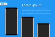 Telefone, smartphone móvel isolado no molde azul do fundo Telefones realísticos do modelo três da ilustração do vetor Fotografia de Stock