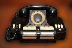 Telefone velho do disco no fundo marrom borrado imagens de stock royalty free
