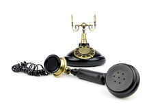 Telefone velho do preto do vintage Foto de Stock Royalty Free