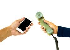 Telefone velho e novo Fotos de Stock Royalty Free