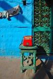 Telefone vermelho em rajasthan Foto de Stock