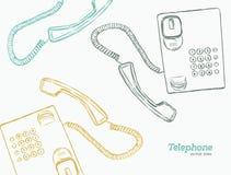 Telefone, vetor do esboço da tração da mão Foto de Stock Royalty Free