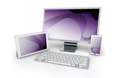 telefonen 3d, minnestavlan och PC:N på en vit bakgrund på rosa färger avskärmar b Arkivbild