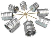 Telefoner för tenn- can förbindelse till varandra 3d framför Arkivbilder