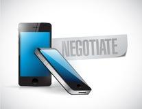 Telefoner med ordet förhandlar skriftligt Arkivbilder