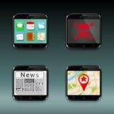 Telefones celulares, ícones dos apps Fotos de Stock