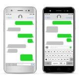 Telefones celulares com bate-papo dos sms Janelas do mensageiro ilustração do vetor