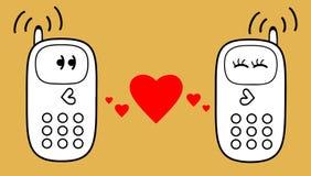 Telefones celulares com coração ilustração royalty free