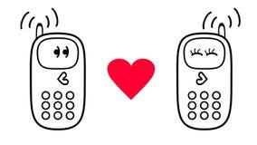 Telefones celulares dos desenhos animados em um fundo branco Sentimentos do amor Ilustração Royalty Free