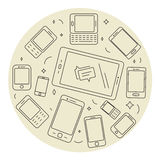 Telefones celulares e grupo do círculo da almofada ilustração stock