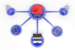 Telefones celulares e portátil de conexão dos povos da casa Imagens de Stock