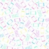 Telefones celulares em um fundo branco Teste padrão sem emenda com smartphone colorido Ilustração do vetor ilustração royalty free