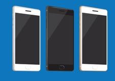 Telefones celulares novos no branco, no preto e no ouro Foto de Stock Royalty Free