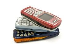 Telefones de pilha velhos usados Imagem de Stock Royalty Free