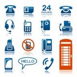 Telefones e grupo do ícone do fax ilustração royalty free