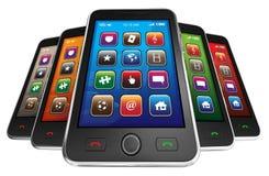 Telefones espertos móveis pretos Imagem de Stock Royalty Free
