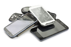 Telefones espertos quebrados Fotografia de Stock Royalty Free