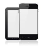 Telefones móveis modernos com a tela em branco isolada Fotografia de Stock Royalty Free