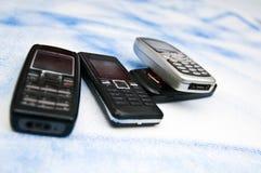 Telefones móveis velhos Fotografia de Stock Royalty Free
