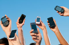 Telefones móveis modernos Imagens de Stock Royalty Free