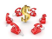 Telefones retros em torno do sinal de dólar dourado. Foto de Stock