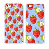 Telefonfallsamling Färgrik bakgrund som göras av jordgubben i plan design rolig frukt Gullig sömlös modell i plan stil Royaltyfri Foto