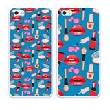 Telefonfallsamling Härliga kanter för Closeup av kvinnan med röd läppstift och glans Sexigt vått kantsmink Royaltyfria Bilder