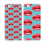 Telefonfallsamling Skönhetsmedel och makeupmodell öppen mun kyssa sött Retro mobiltelefondekaler Royaltyfri Fotografi