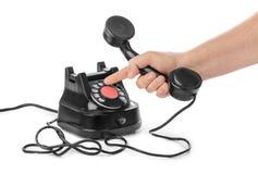 Telefonhörer in der Hand stockbilder