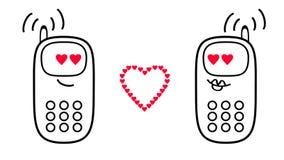 Telefoni cellulari del fumetto Sensibilità di amore e di cuori rappresentazione 3d illustrazione vettoriale