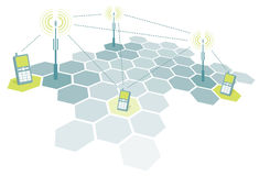 Telefoni cellulari di collegamento/telecomunicazione Immagine Stock Libera da Diritti