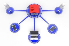 Telefoni cellulari e computer portatile di collegamento della gente della Camera Immagini Stock