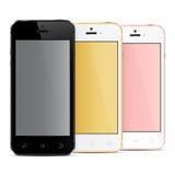 Telefoni cellulari realistici con lo schermo in bianco Immagini Stock Libere da Diritti
