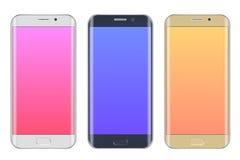 Telefoni cellulari realistici dell'insieme Fotografia Stock Libera da Diritti