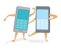 Telefoni cellulari rivali che combattono una lotta di tecnologia Fotografia Stock
