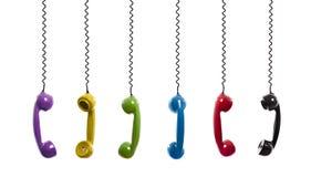 Telefoni colorati dell'annata fotografia stock
