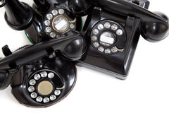 Telefoni dell'annata su un fondo bianco Fotografie Stock Libere da Diritti