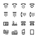 Telefoni ed invii via fax l'insieme dell'icona, il vettore eps10 Fotografia Stock Libera da Diritti