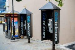 Telefoni pubblici in Gibilterra fotografia stock libera da diritti