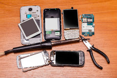 Telefoni rotti Immagini Stock Libere da Diritti