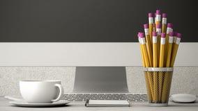 Telefoni sull'illustrazione della tavola, del caffè e del taccuino 3d Fotografie Stock